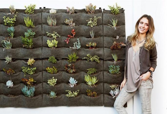 Jessica Alba's Eco Friendly Florafelt Vertical Garden