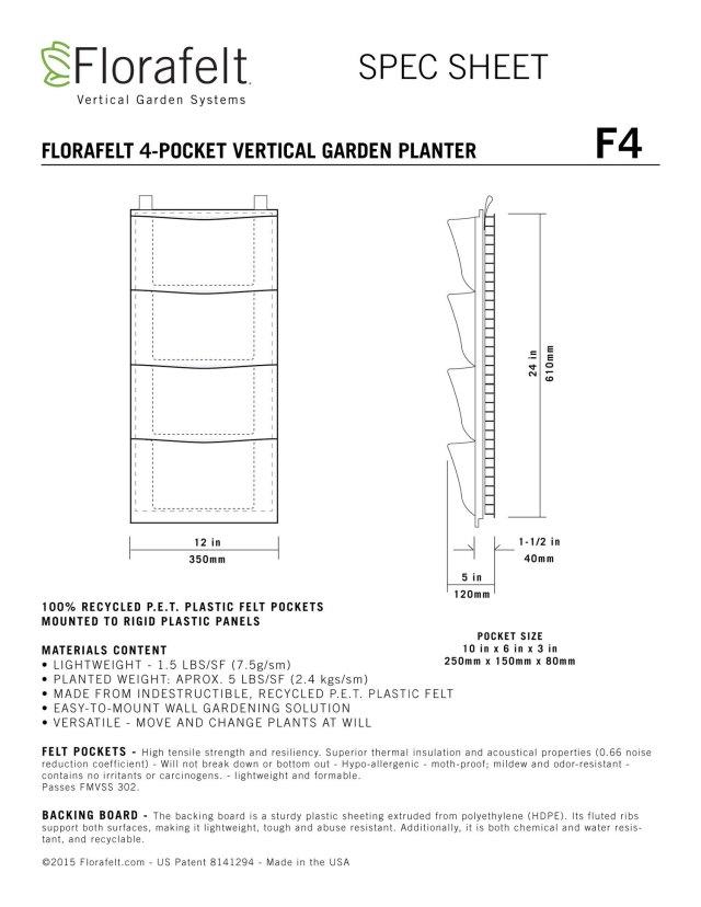 Florafelt 4-Pocket Spec Sheet