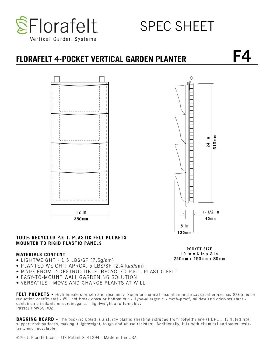 Florafelt 4-Pocket Spec Sheet