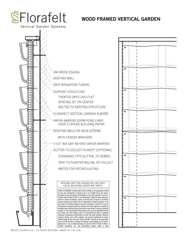 Florafelt Mounting Wood-Framed Vertical Garden